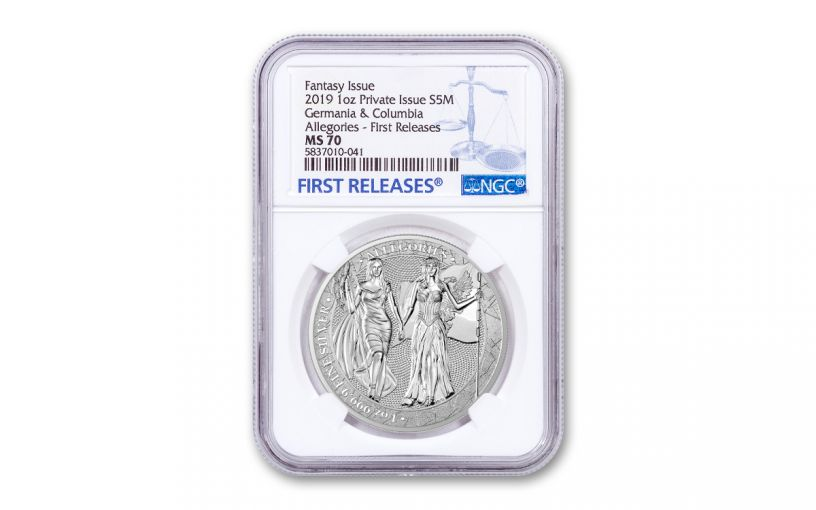 2019 1-oz Silver Allegories — Columbia & Germania NGC MS70 First Releases