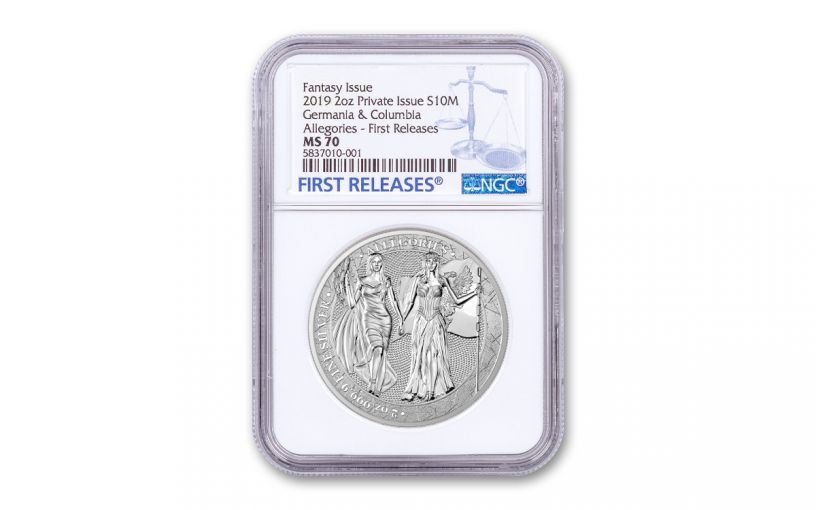 2019 2-oz Silver Allegories — Columbia & Germania NGC MS70 First Releases