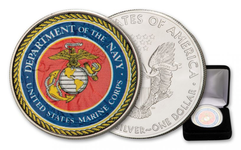 2020 $1 1-oz Silver American Eagle U.S. Armed Forces Marines Colorized Edition