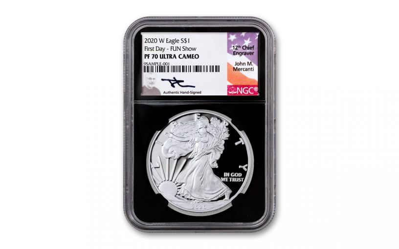 2020-W $1 1-oz American Silver Eagle NGC PF70 FUN Show First Day of Issue w/Black Core & Mercanti Signature