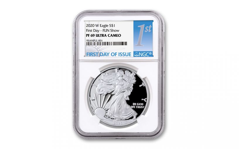2020-W $1 1-oz American Silver Eagle NGC PF69 FUN Show First Day of Issue