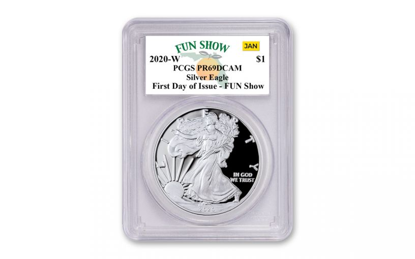 2020-W $1 1-oz American Silver Eagle PCGS PR69 FUN Show First Day of Issue