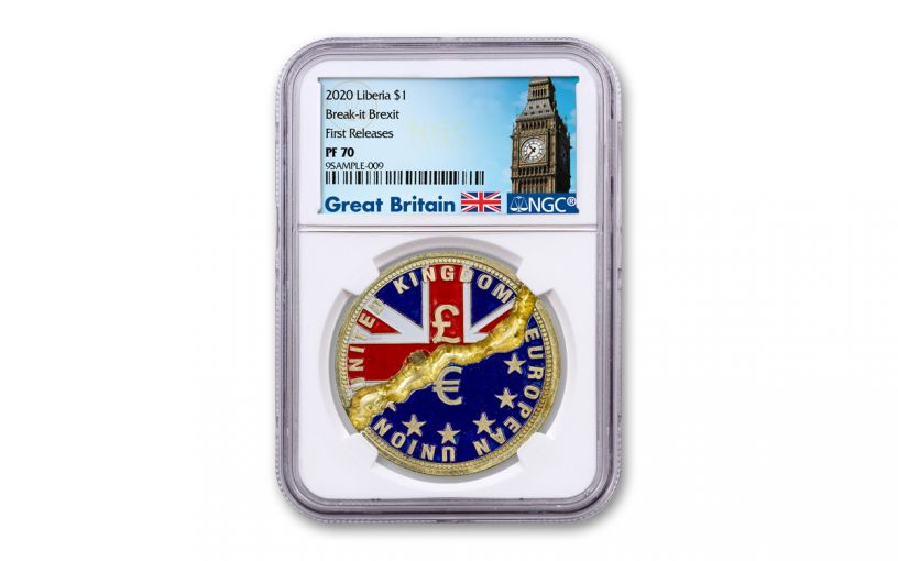 2020 Liberia $1 Brass Break-It Brexit Coin NGC PF70 First Releases w/Exclusive Big Ben Label