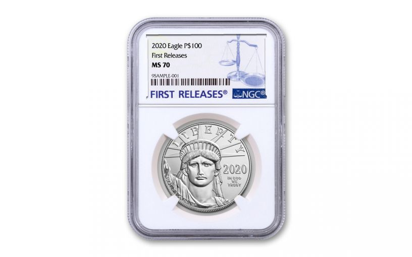 2020 $100 1-oz Platinum American Eagle NGC MS70 First Releases w/Blue Label