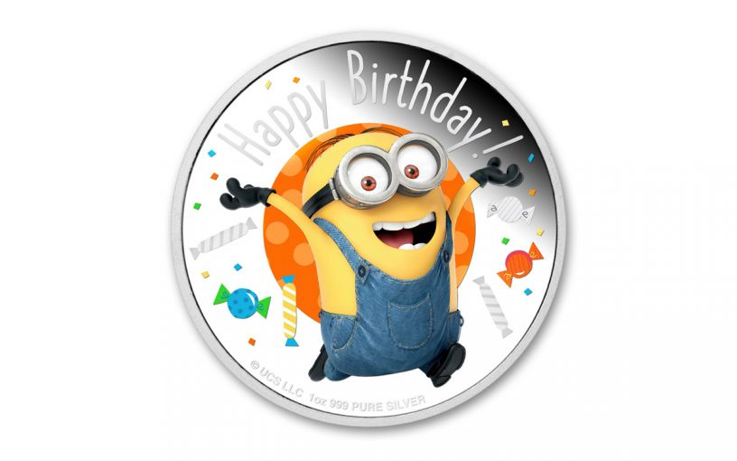 2020 Niue $2 1-oz Silver Niue Minions™ Happy Birthday Colorized Proof