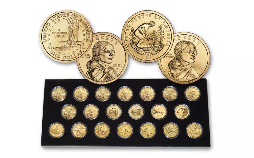 20PC 2000-2019 $1 SACAJAWEA COIN SET BU