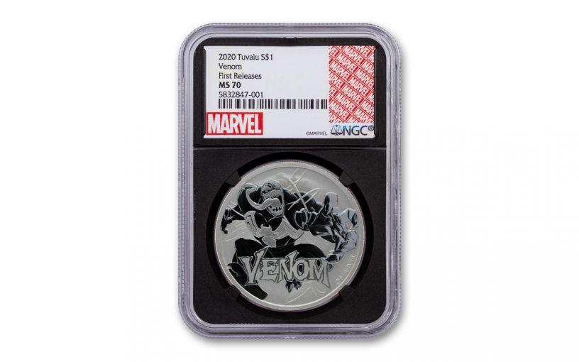2020 Tuvalu $1 1-oz Silver Venom NGC MS70 First Releases w/Black Core