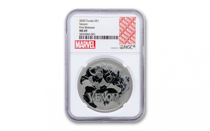 2020 Tuvalu $1 1-oz Silver Venom NGC MS69 First Releases
