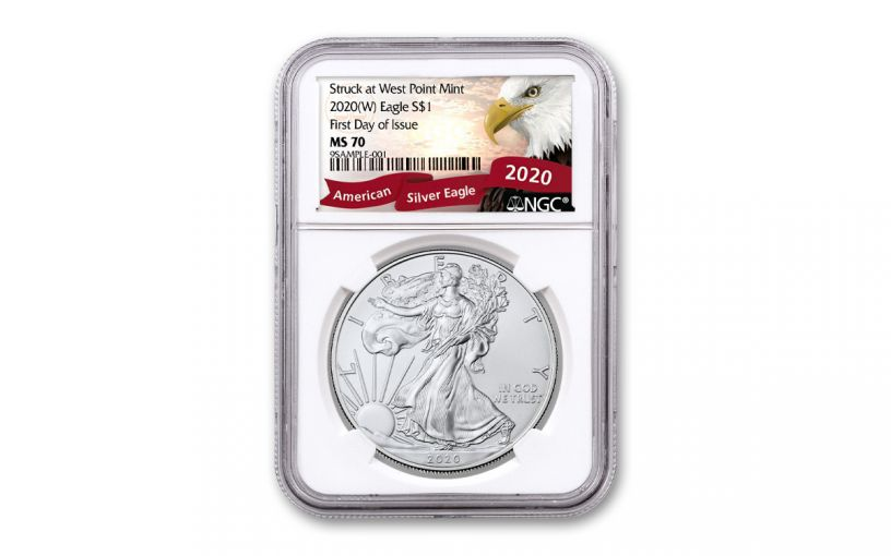 2020-(W) $1 1-oz Silver American Eagle Struck at West Point NGC MS70 First Day of Issue w/Exclusive Eagle Label