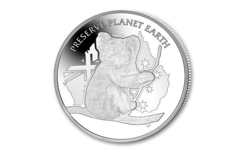 2020 Niue $2 2-oz Silver Koala Preserve Planet Earth High Relief Proof
