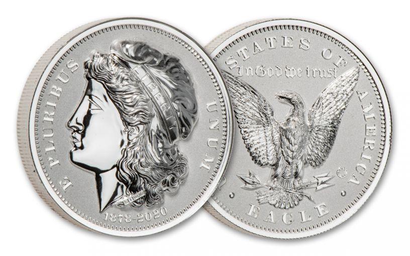 2020 Smithsonian 2-oz Silver Morgan's Gold Eagle Ultra High Relief Piedfort Reverse Proof