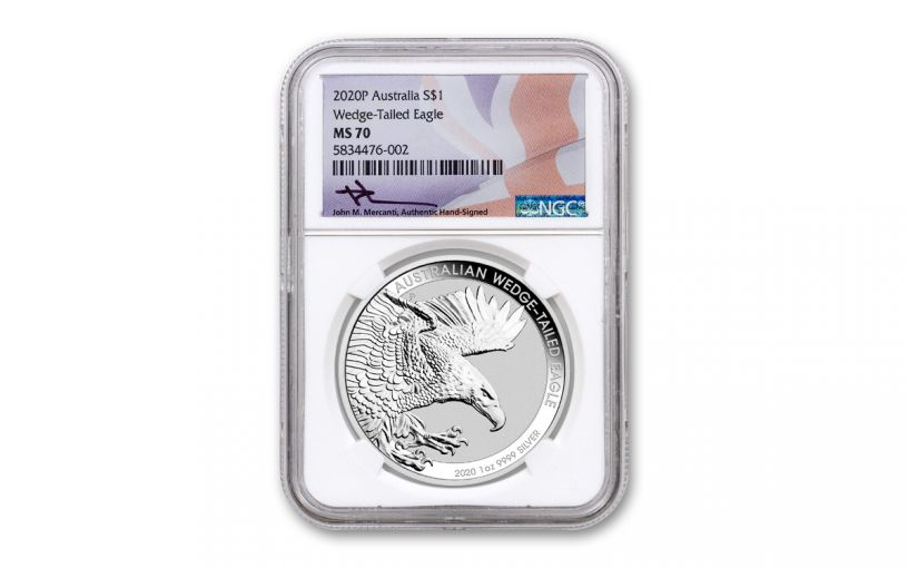 2020 Australia $1 1-oz Silver Wedge-Tailed Eagle NGC MS70 w/Flag Label & Mercanti-Signature