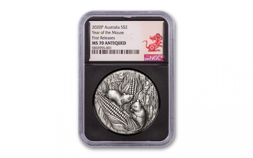 2020 Australia $2 2-oz Silver Lunar Year of the Mouse Antiqued NGC MS70 First Releases - Black Core, Year of the Rat Label
