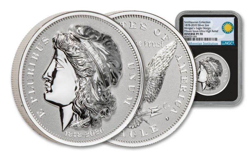 2020 Smithsonian 2-oz Silver Morgan's Gold Eagle Ultra High Relief Piedfort Reverse Proof NGC PF70UC