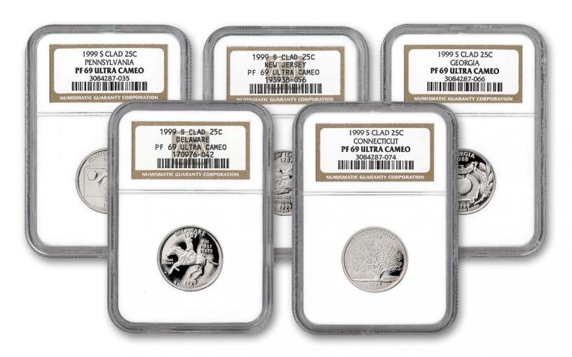 1999-S State Quarters Clad Proof 5-pc Set NGC PF69UC