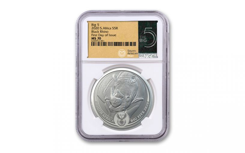 2020 South Africa 1-oz Silver Big 5 Rhino NGC MS70 First Day of Issue w/Big Five Label