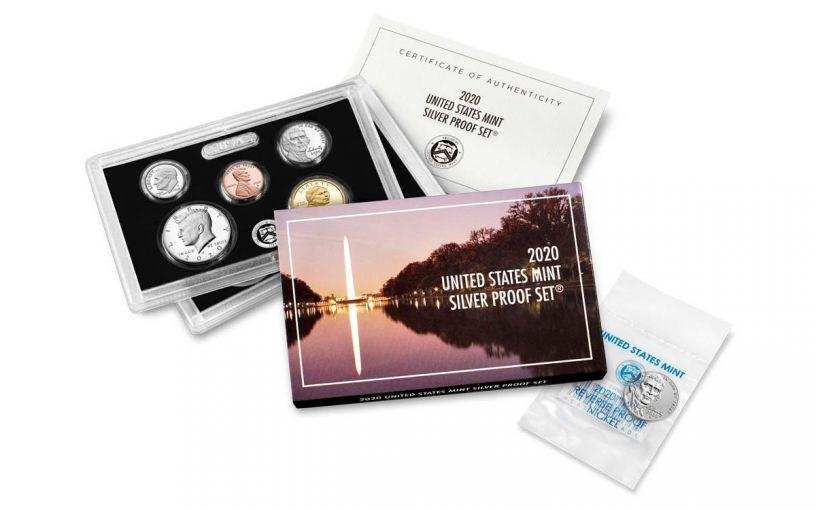 2020-S U.S. Silver Proof Set w/ 2020-W Reverse Proof Jefferson Nickel