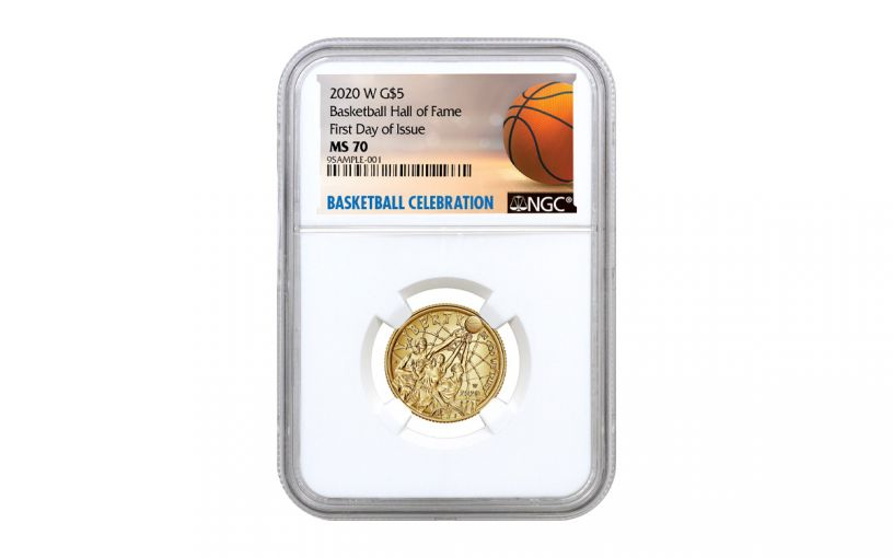 2020-W $5 Gold Basketball Hall of Fame NGC MS70 First Day of Issue