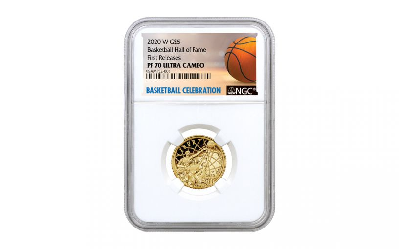 2020-W $5 Gold Basketball Hall of Fame NGC PF70 First Releases