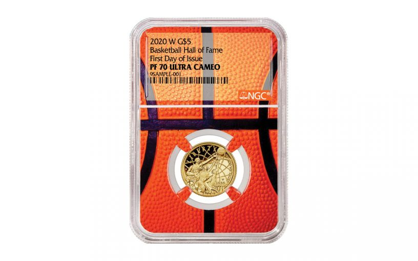 2020-W $5 Gold Basketball Hall of Fame NGC PF70 First Day of Issue w/Basketball Core