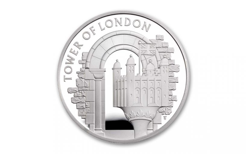 2020 Great Britain £5 28.28-gm Silver Tower of London White Tower Proof