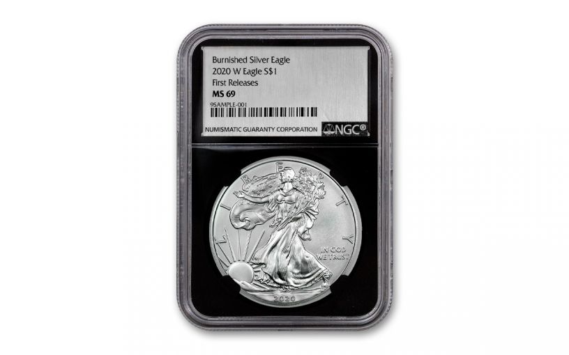 2020-W $1 1-oz Burnished Silver Eagle NGC MS69 Early Releases w/Black Core & Silver Foil Label