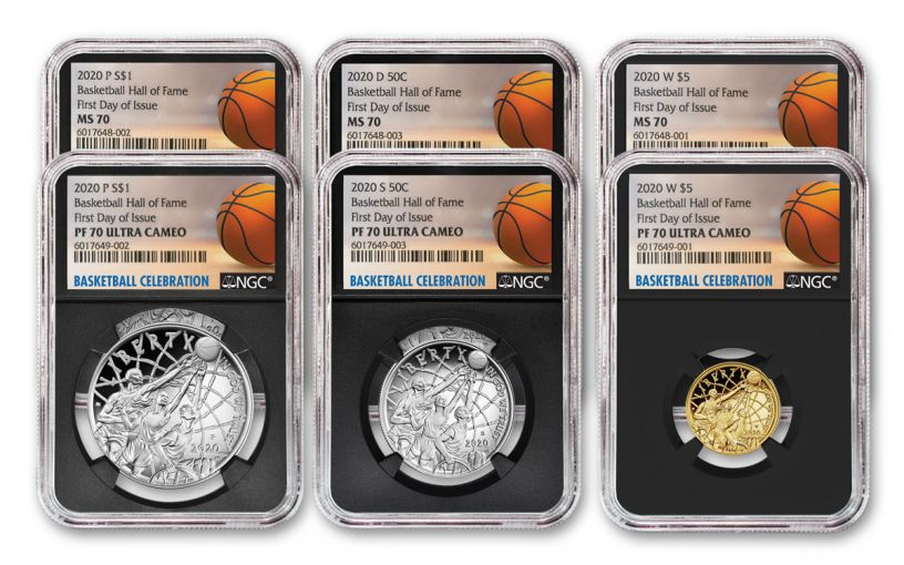 2020 Basketball Hall of Fame Proof & Uncirculated 6-pc Set NGC MS70-PF70 First Day of Issue w/Kareem Signature
