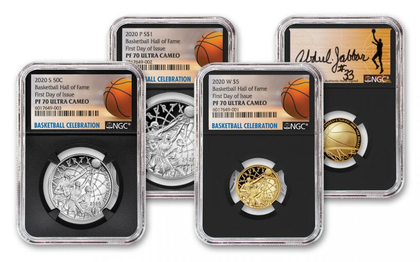 2020 Basketball Hall of Fame Proof 3-pc Set NGC PF70 First Day of Issue w/Kareem Signature