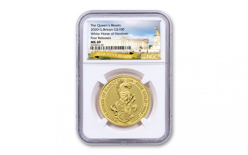 2020 Great Britain £100 1-oz Gold Queen's Beasts White Horse of Hanover NGC MS69 First Releases