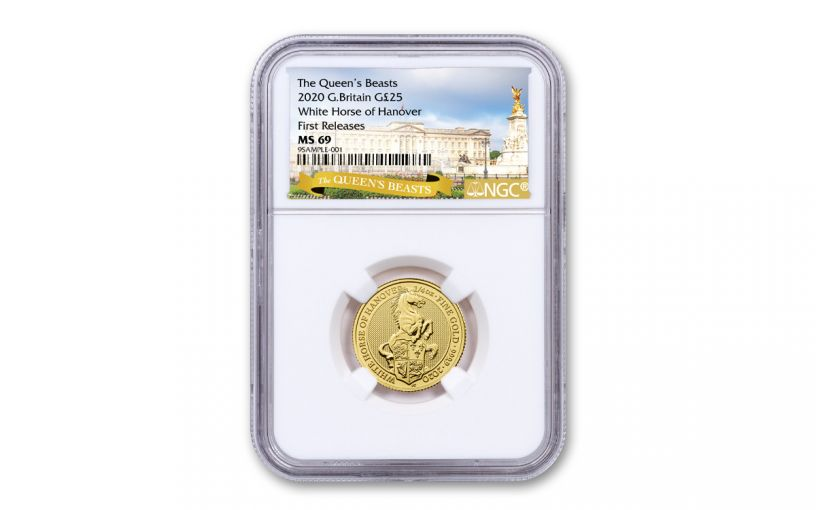 2020 Great Britain £25 1/4-oz Gold Queen's Beasts White Horse of Hanover NGC MS69 First Releases, Exclusive Queen's Beast Label