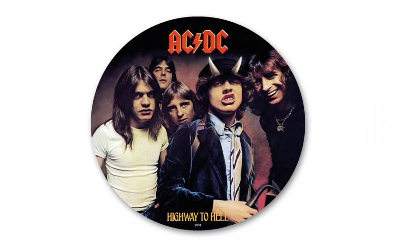2019 Cook Islands $2 1/2-oz Silver AC/DC Highway to Hell Foil Record