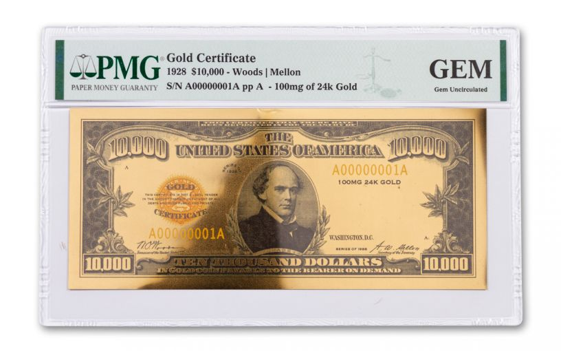 1928 $10,000 24KT GOLD CERTIFICATE COMMEM PMG GEM