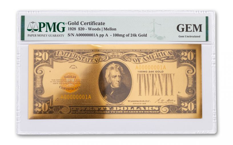 24kt Gold Foil $20 Gold Certificate Commemorative PMG Gem Uncirculated