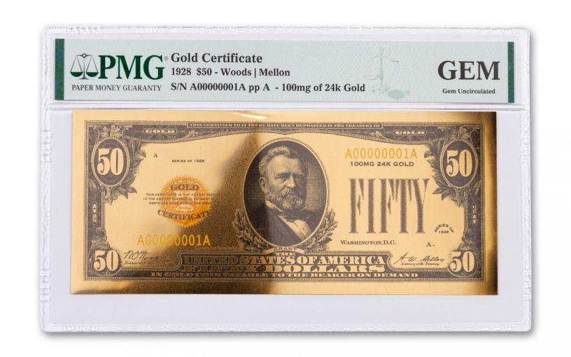 24kt Gold Foil $50 Gold Certificate Commemorative PMG Gem Uncirculated