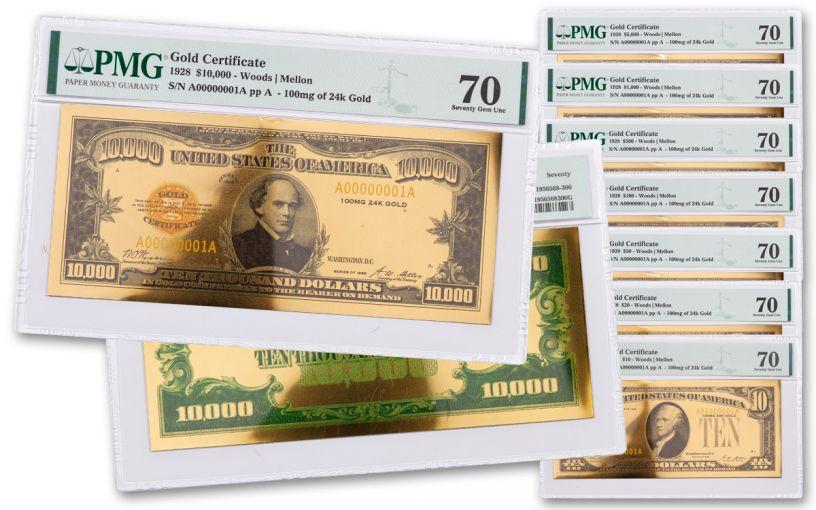 8PC 1928 $10-$10,000 24KT GLD CERT COMM SET PMG 70