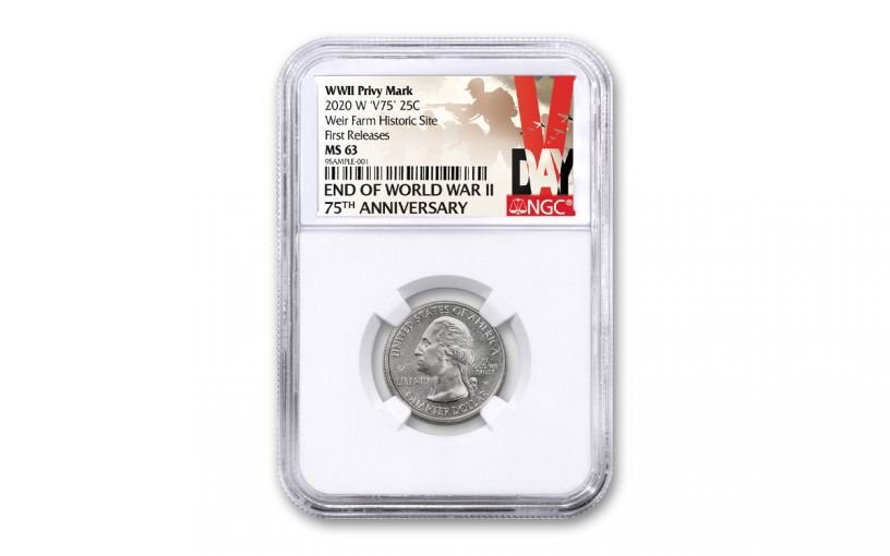 3624452020-W 25c WEIR FARM NATIONAL HISTORIC SITE (CONNECTICUT) QUARTER NGC MS67 FR - V-DAY LABEL