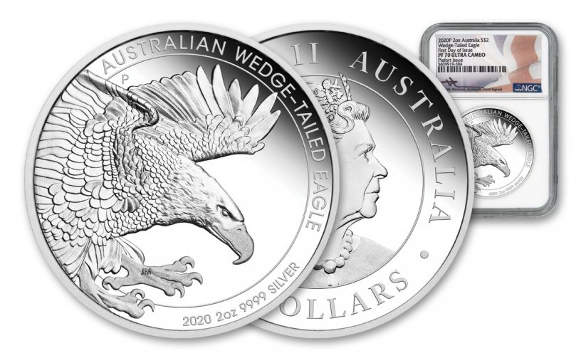 2020 Australia $2 2-oz Silver Wedge Tailed Eagle Piedfort Proof NGC PF70UC First Day of Issue w/Mercanti Signature
