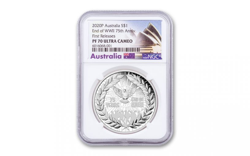 2020 Australia $1 1-oz Silver End of WWII 75th Anniversary Proof NGC PF70UC First Releases w/Opera House Label