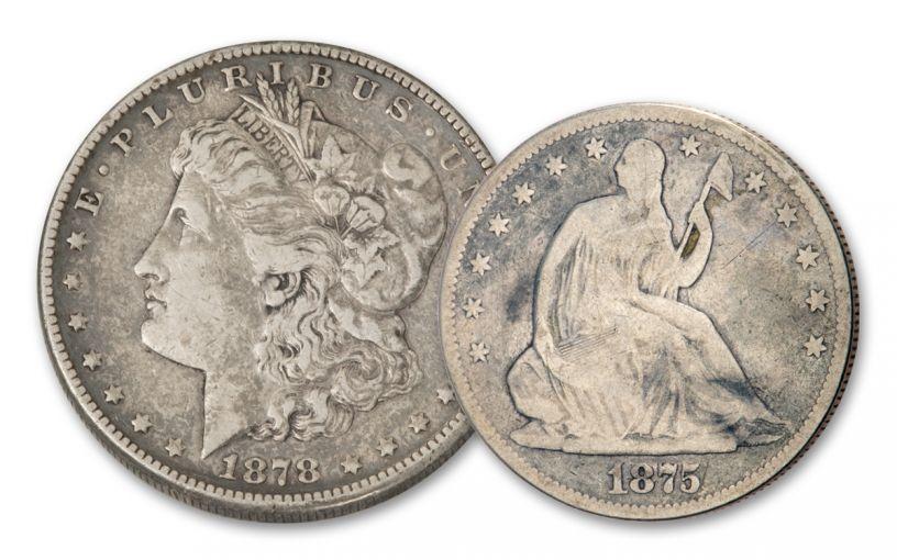 1875–1878-S Seated Liberty Half Dollar & Morgan Silver Dollar 2-pc Set VG–VF