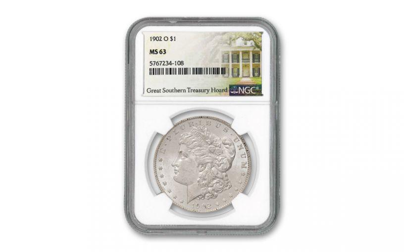 1902-O Morgan Silver Dollar Great Southern Treasury Hoard NGC MS63