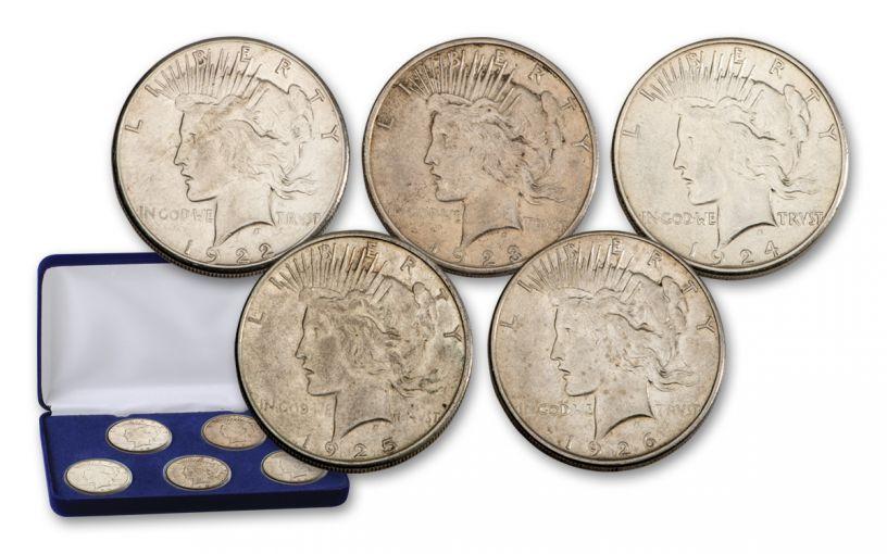 1922–1926-S Peace Silver Dollar 5-pc Set XF