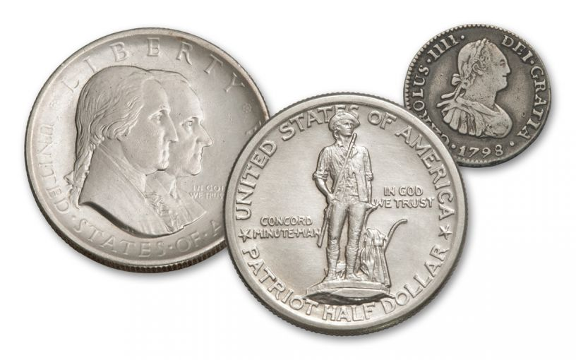 1925–1926 Revolutionary War Silver Half Dollar Commemorative Set AU w/Spanish Portrait Half Real