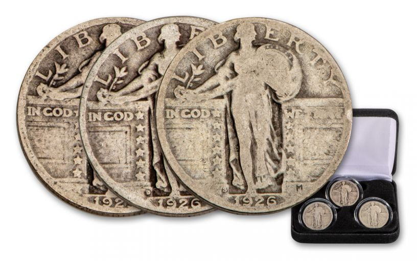 1916–1930 Standing Liberty Silver Quarter 3-pc Mint Mark Set