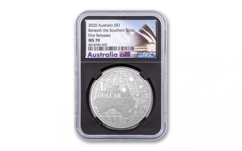 2020 Australia $1 1-oz Silver Beneath the Southern Skies NGC MS70 First Releases w/Black Core