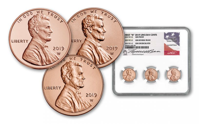 2019-W Lincoln Cent NGC Gem Proof/Reverse Proof/Uncirculated 3-pc Set w/ Lyndall Bass Signature Label