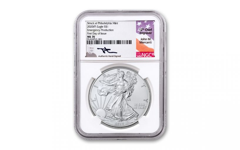 2020(P) $1 SILVER EAGLE PHILLY NGC MS70 FDI MERC