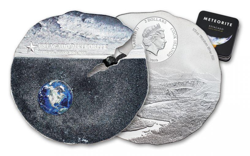2019 Cook Islands $2 1/2-oz Titanium-Silver Estacado Meteorite Colorized Specimen