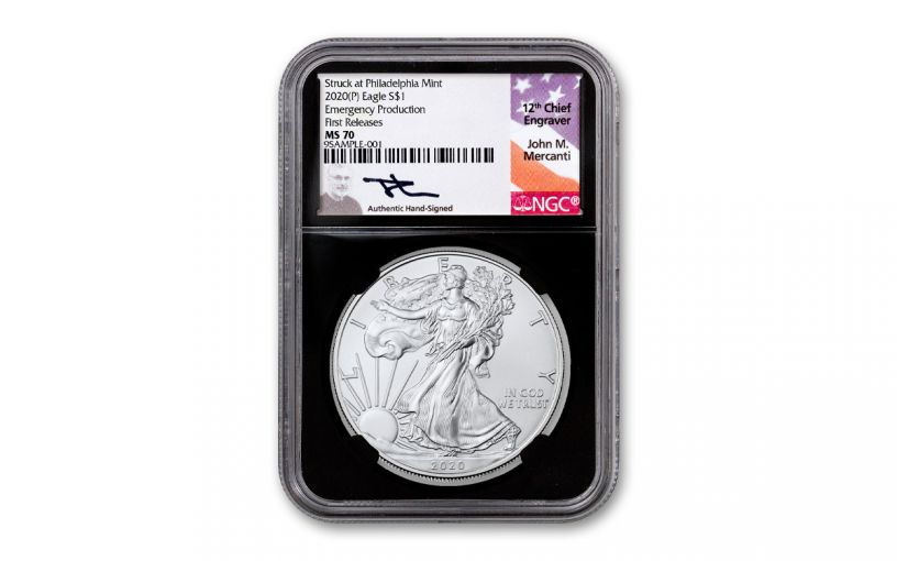 2020(P) $1 1-oz Silver Eagle Struck At Philadelphia Emergency Production NGC MS70 First Releases w/Black Core & Mercanti Signature
