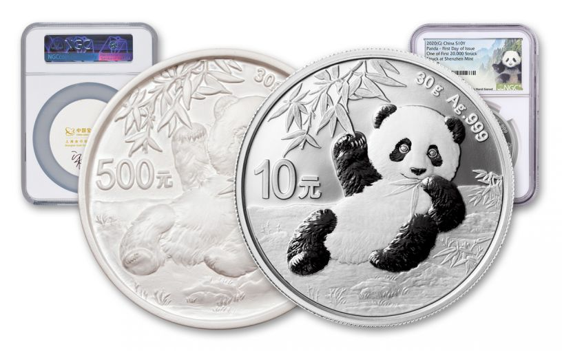 2020 China 30-gm Silver & Cast Panda NGC MS70 First Day of Issue w/Lina Signature