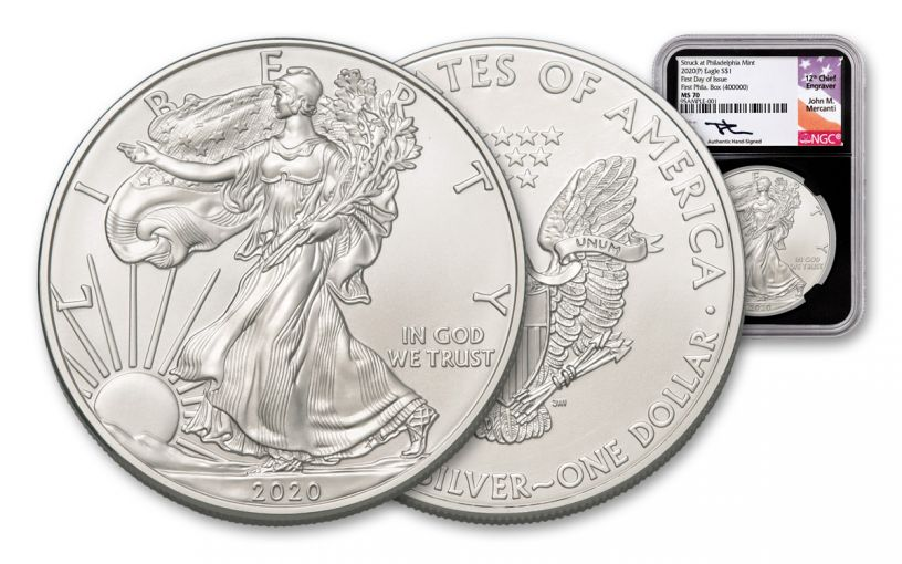 """2020-P $1 1-oz Silver Eagle """"Struck at Philadelphia"""" Box #400,000 NGC MS69 First Day of Issue w/Black Core & Mercanti Signature"""